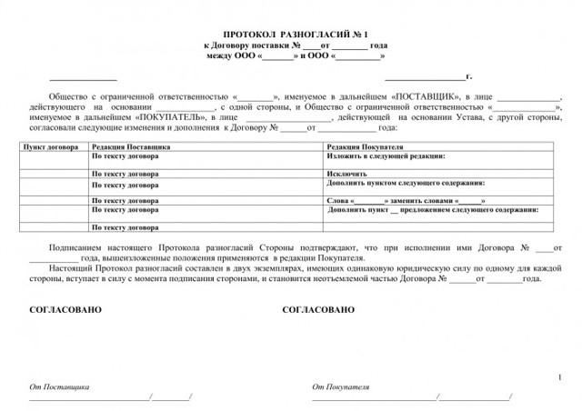 Протокол разногласий к контракту по 44-ФЗ: правила и сроки
