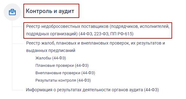 Реестр недобросовестных поставщиков 44-ФЗ, 223-ФЗ